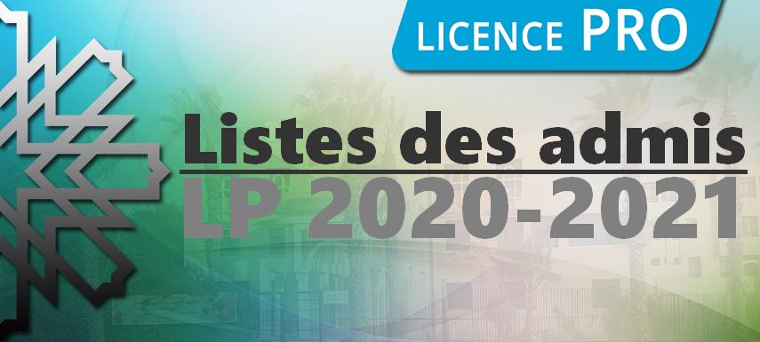 Admission aux filières LP 2020/2021